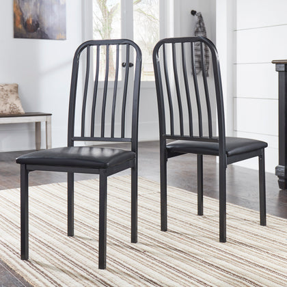 Metal and Leather Set of 2 Dining Chairs
