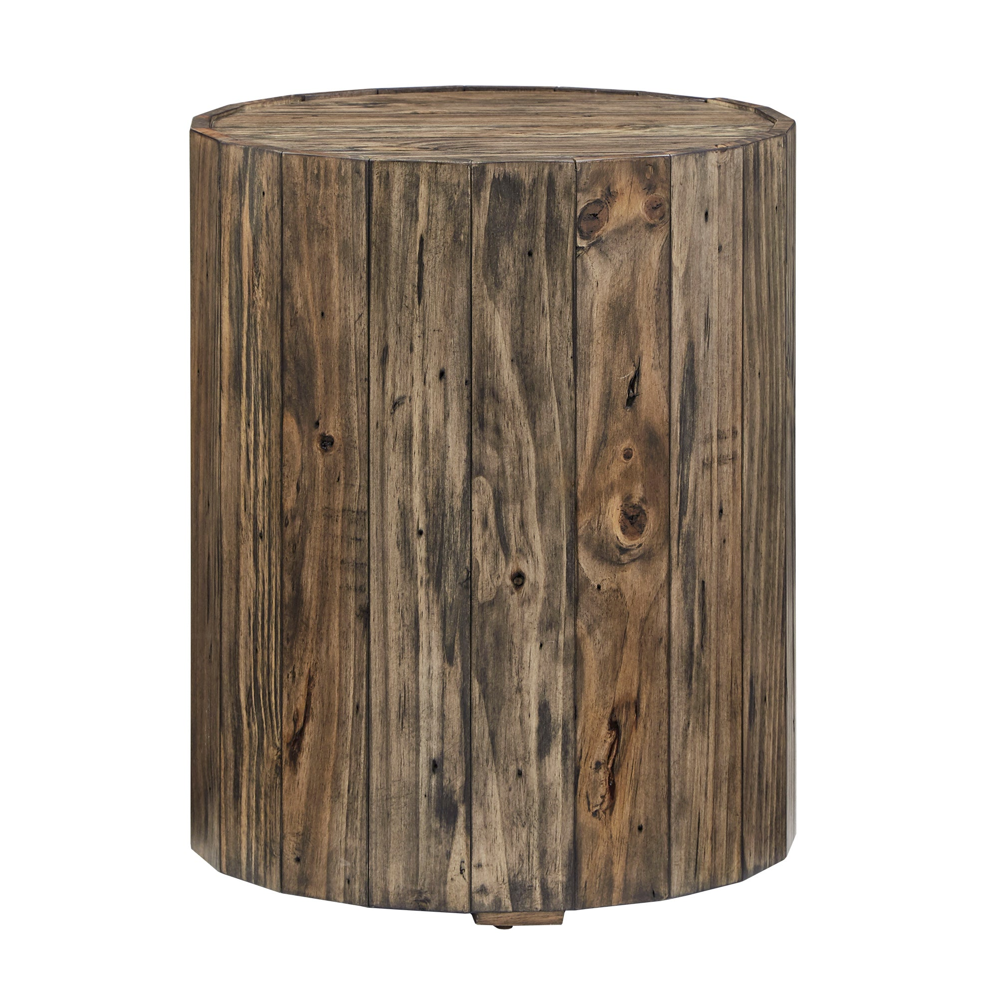 Distressed Brown Finish Reclaimed Wood Barrel End Table