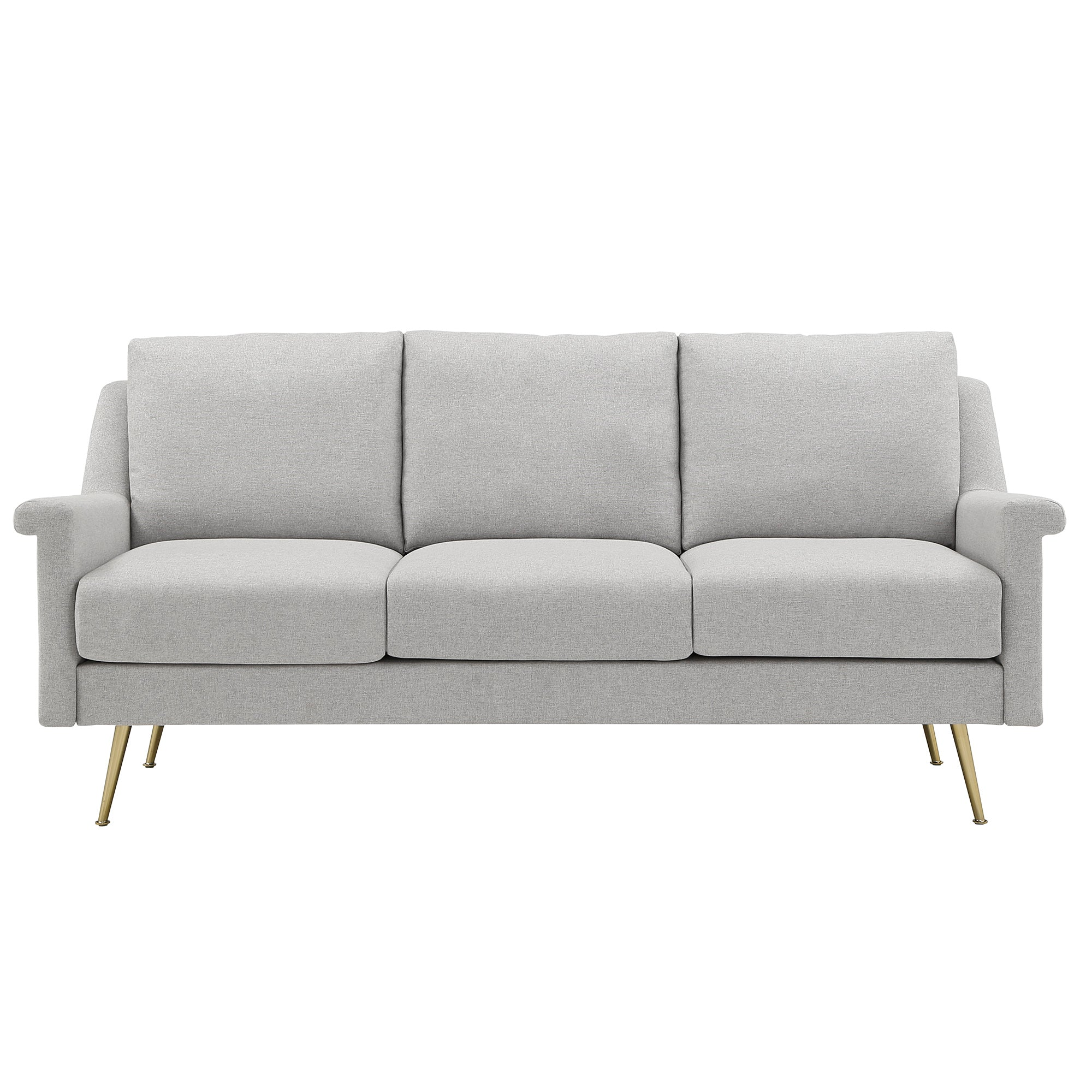 Grey Fabric Sofa with Gold Metal Legs