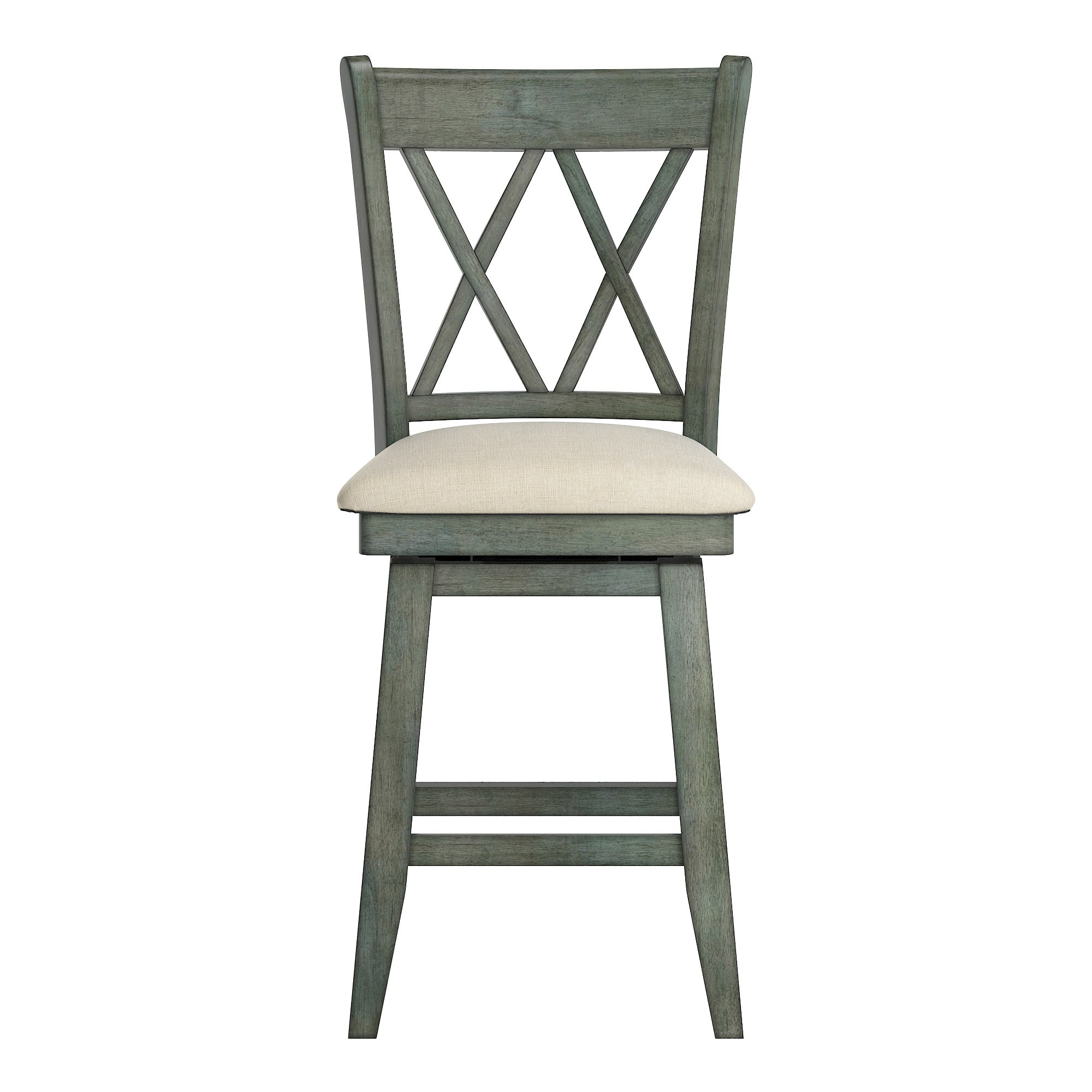 Double X Back Counter Height Wood Swivel Chair - Antique Sage