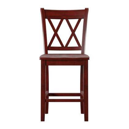 Double X-Back Counter Height Chair (Set of 2) - Antique Berry