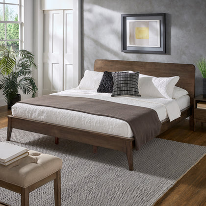 Walnut Finish Wood Platform Bed - King Size