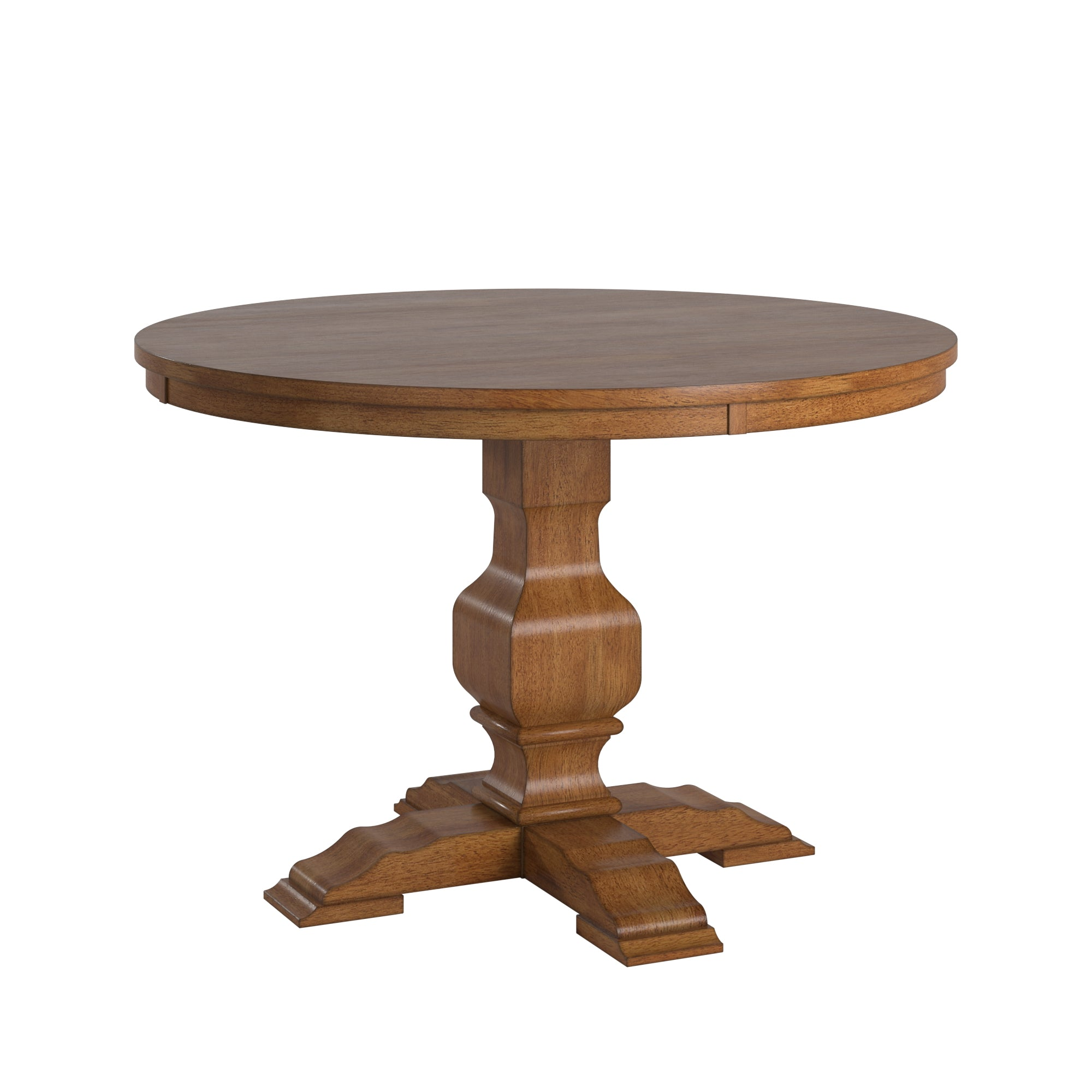 Two-Tone Round Solid Wood Top Dining Table - Oak Top with Oak Base Color Finish