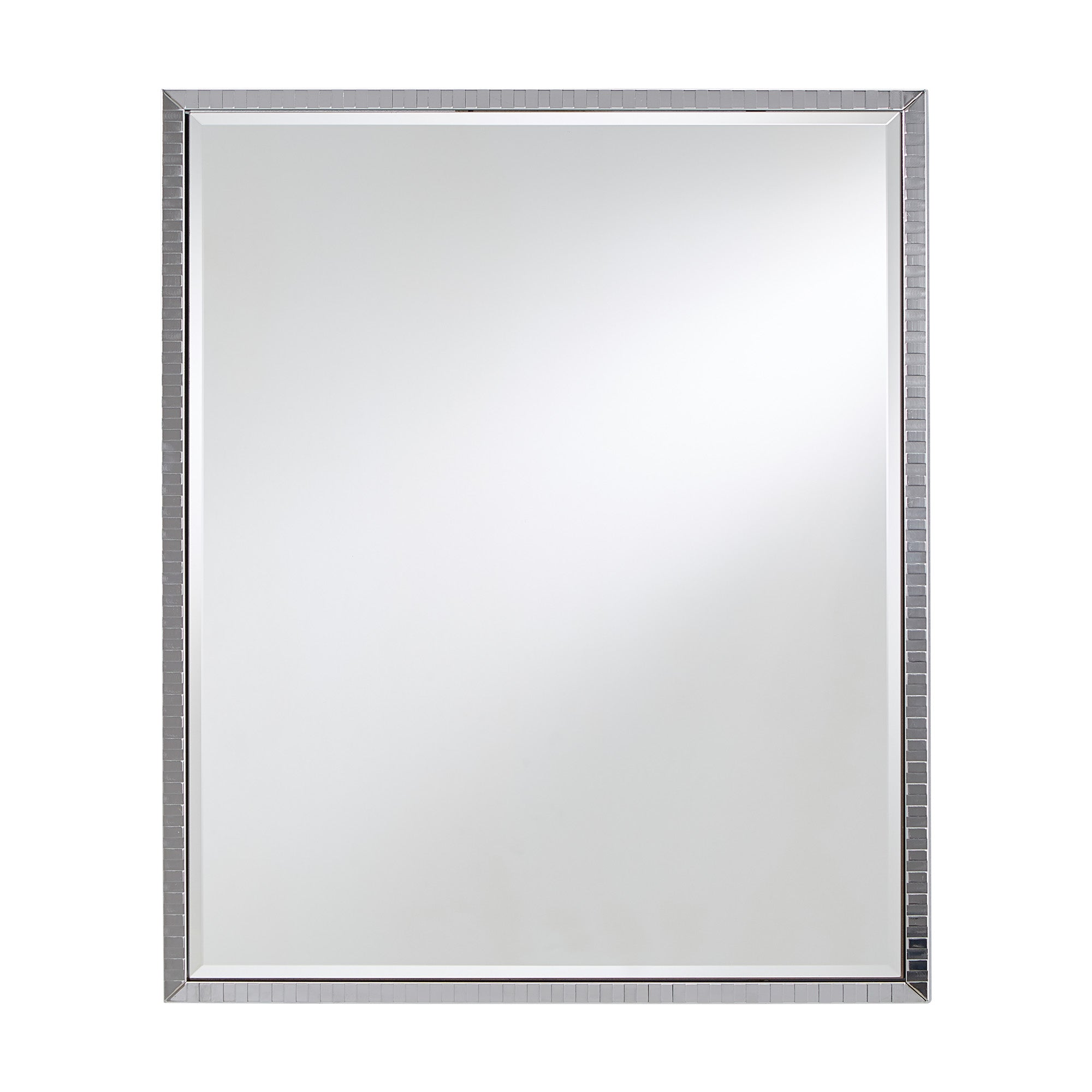 Chrome Checkered Pattern Metal Rectangular Wall Mirror