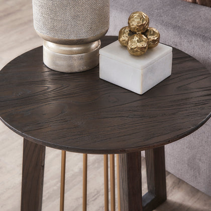 Gold Finished Metal and Reclaimed Wood Round End Table