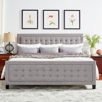 Square Button-Tufted Upholstered Platform Bed with Footboard - Grey, King