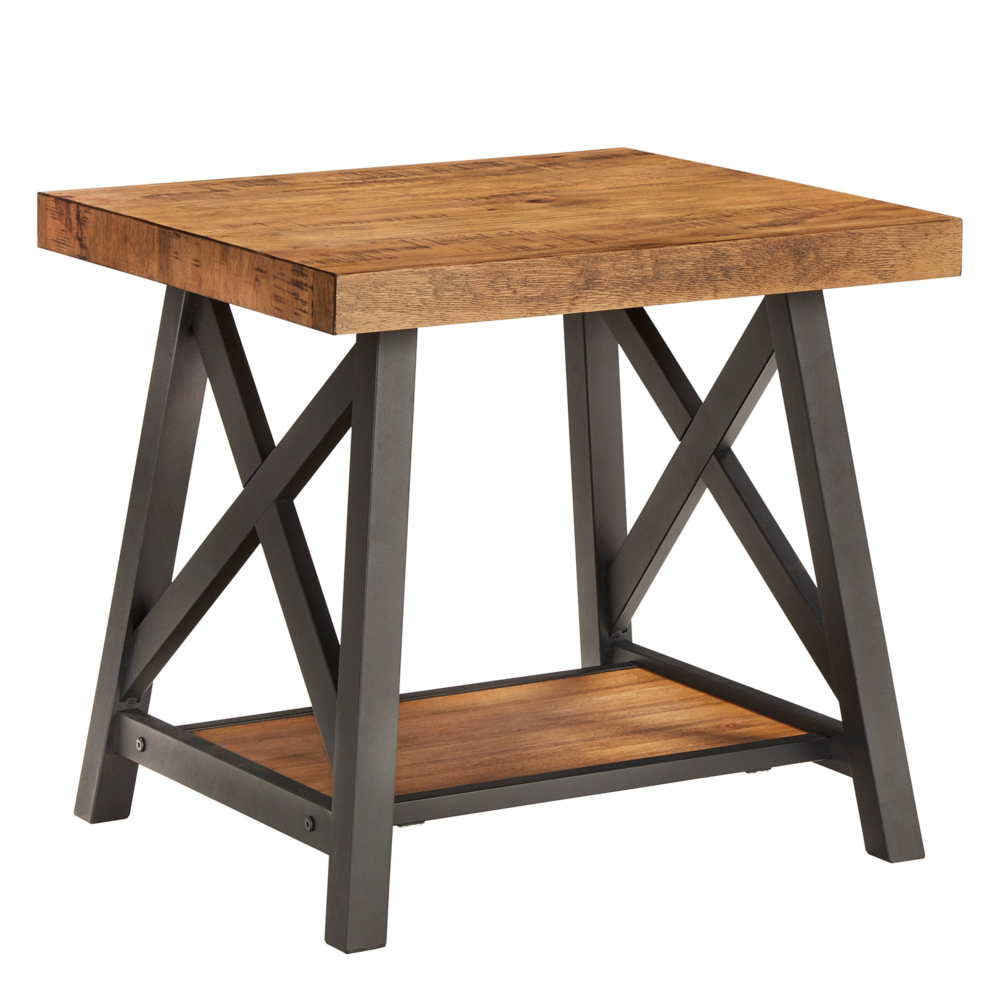 Rustic X-Base End Table with Shelf - Oak Finish