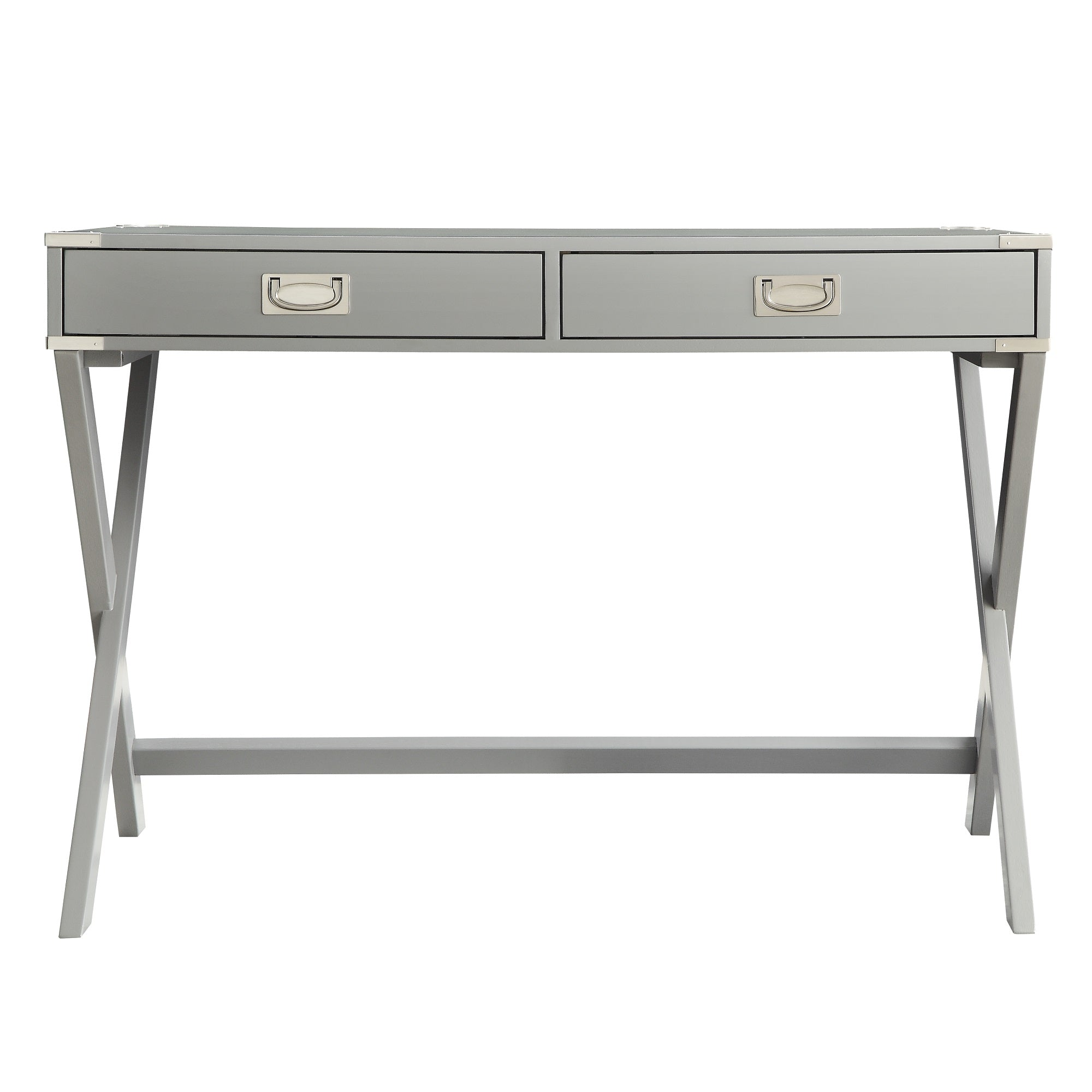 X-Base Wood Accent Campaign Writing Desk - Grey