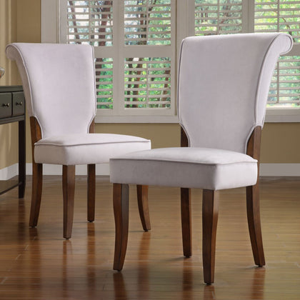 Velvet Upholstered Dining Chairs (Set of 2) - Grey