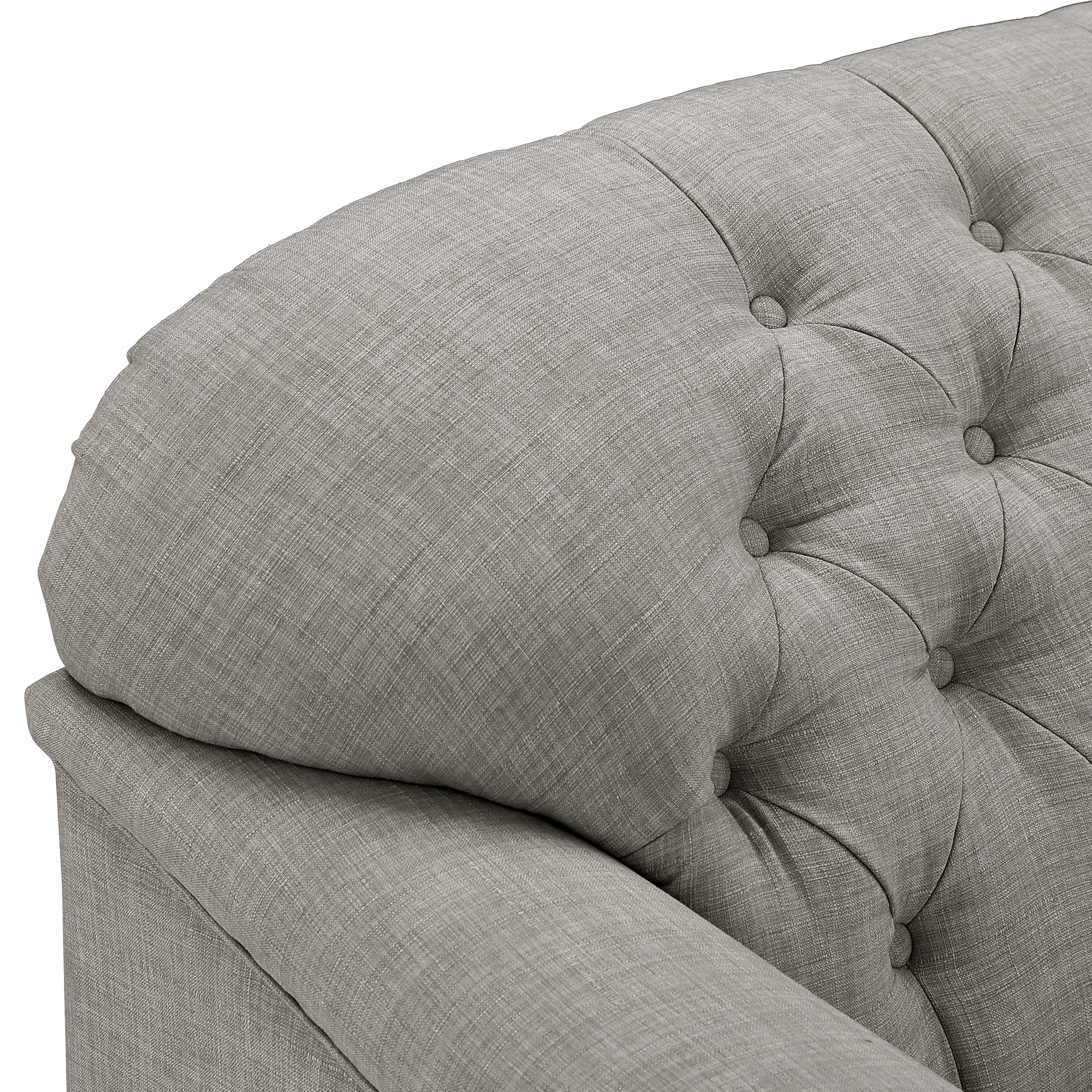 Walnut Finish Linen Chesterfield Sofa - Grey Linen
