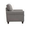 Grey Linen Upholstered Rolled Arm Chair