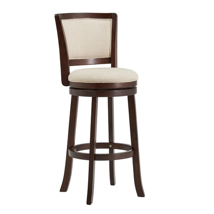 Dark Cherry Finish Beige Linen Swivel Chair - Bar Height