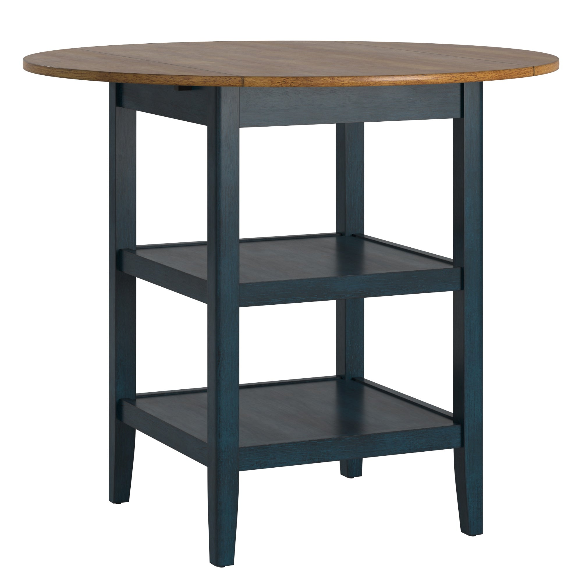 Antique Finish 2 Side Drop Leaf Round Counter Height Table - Oak and Antique Denim Finish