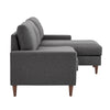 Walnut Finish Fabric Sectional Sofa with Pull-Out Bed and Storage Chaise - Dark Grey