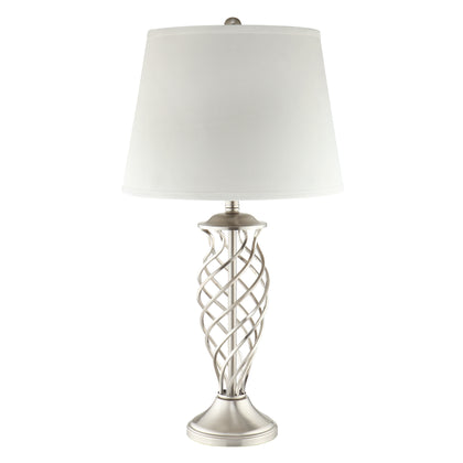 3-Way Satin Nickel Contoured Cage Base 1-light Accent Table Lamp