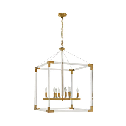 Matte Gold Acrylic Cube Chandelier