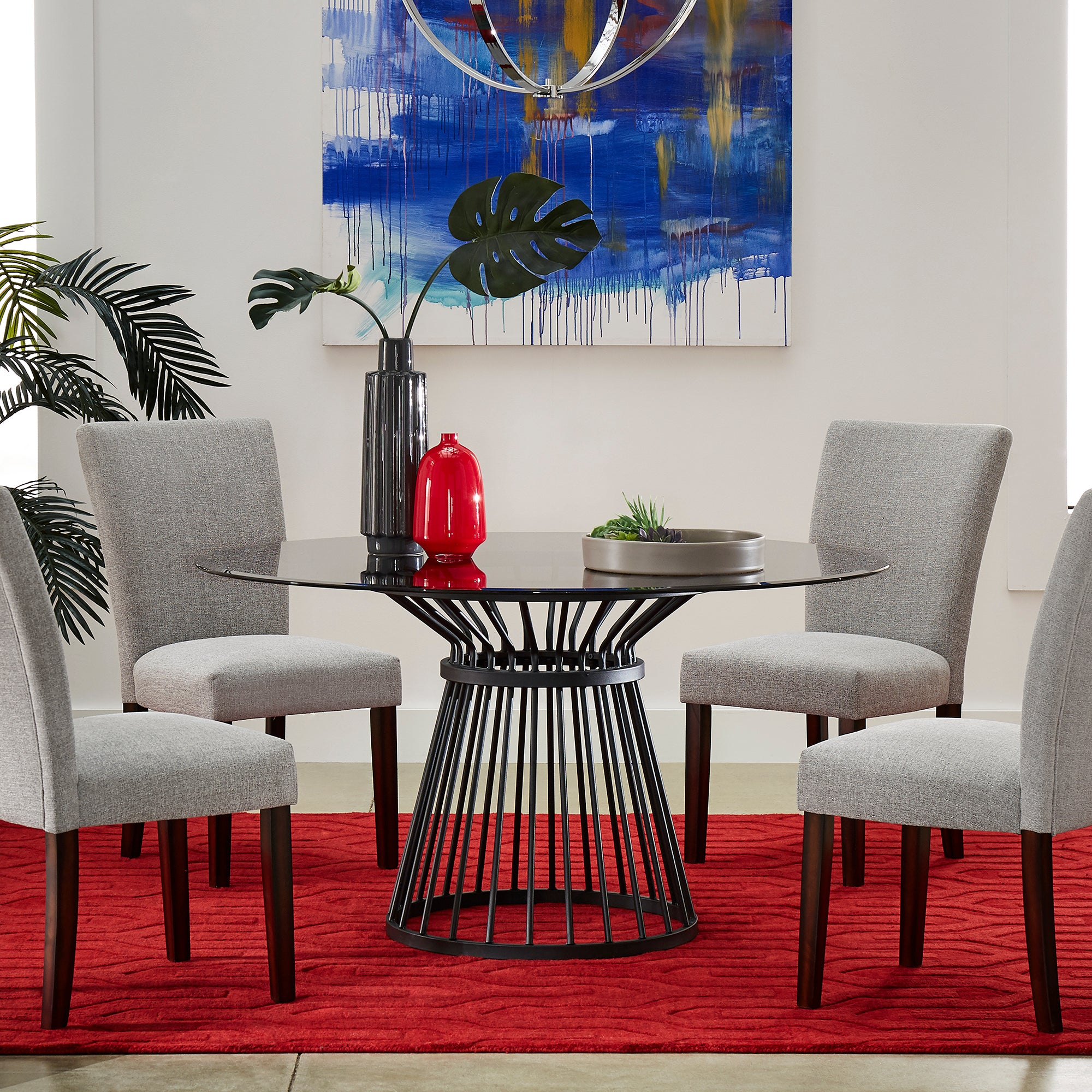 Round Caged Metal Base Dining Table
