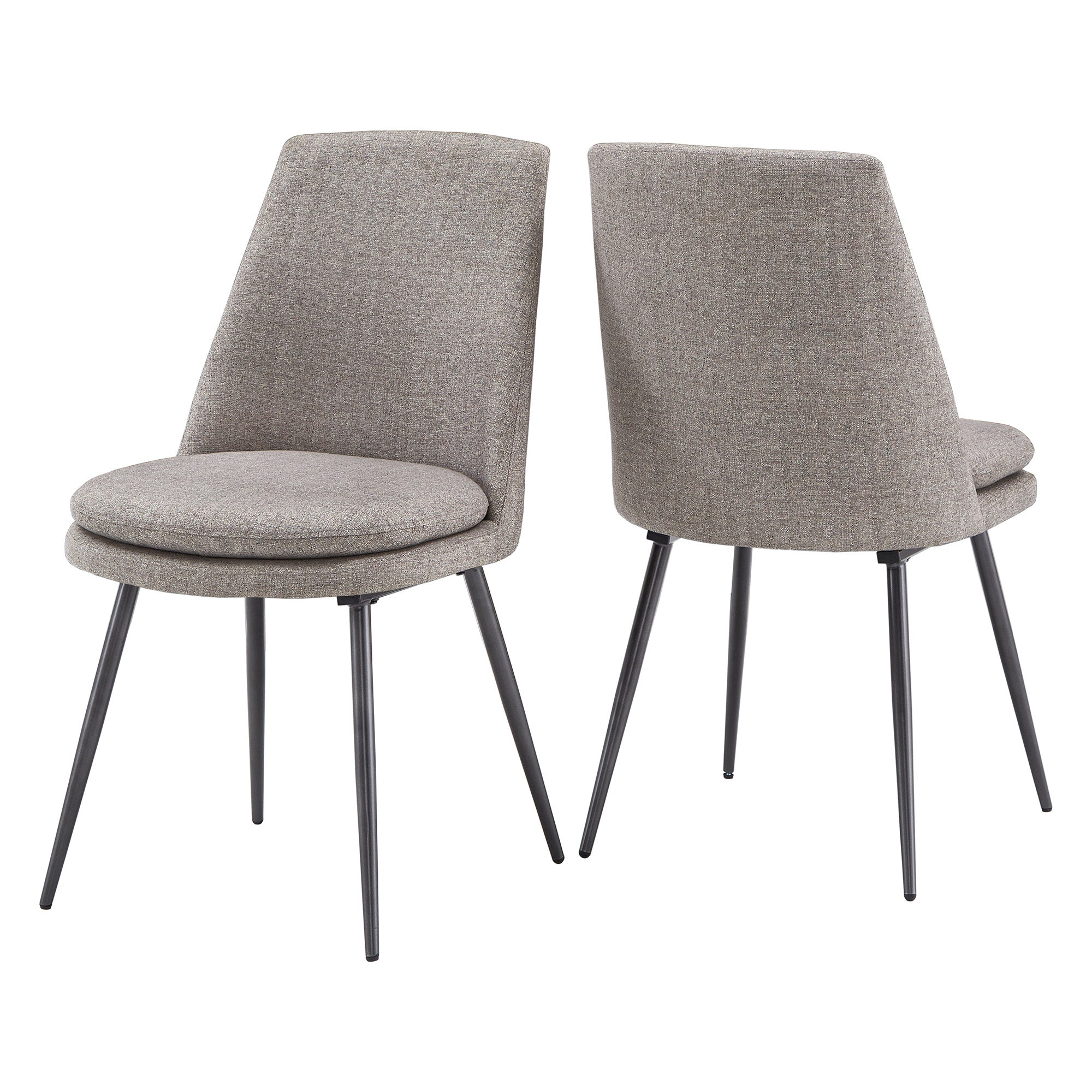 Chenille Fabric Dining Chairs (Set of 2) - Dark Grey