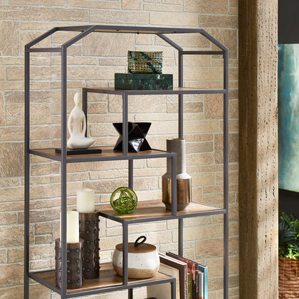 Dark Grey Finish Metal Clipped Corner Bookcase