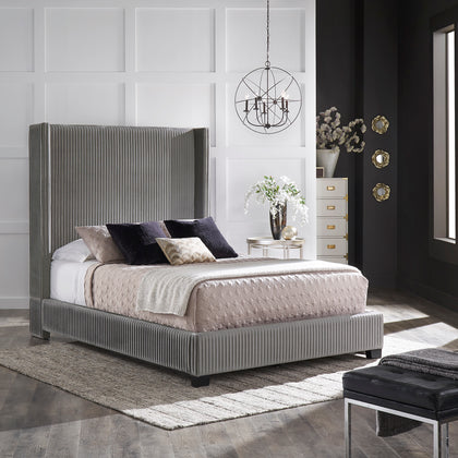 Pleated Velvet Wingback Bed - Grey - Queen (Queen Size)