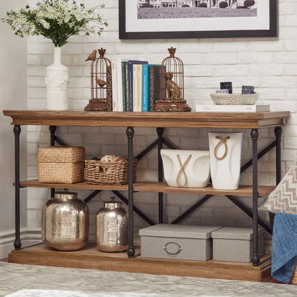 Cornice Iron and Wood Entryway Console Table - Brown Color Finish