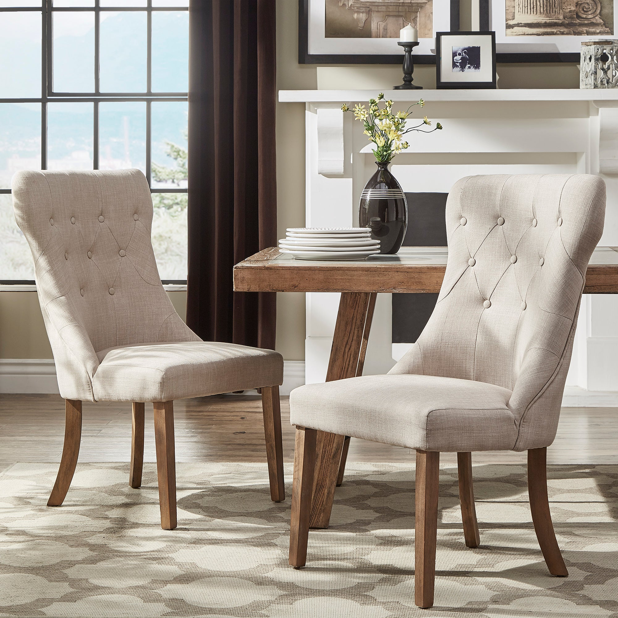 Beige Linen Button Tufted Dining Chair (Set of 2)