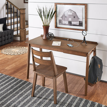 Walnut Finish Writing Desk and Chair Set