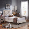 Black Finish Frame with Velvet Fabric Platform Twin Bed - Cream White Velvet (Twin Size)