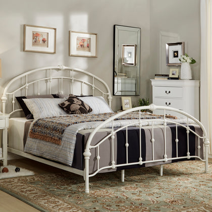 Curved Double Top Arches Victorian Iron Bed - Antique White, King Size