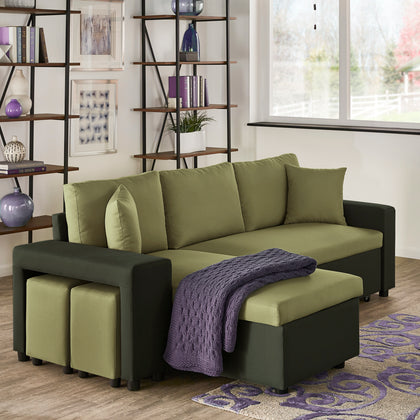 Multifunctional Two-tone Fabric Convertible Chaise Sofa with Two Ottomans, Two Pillows and Storage