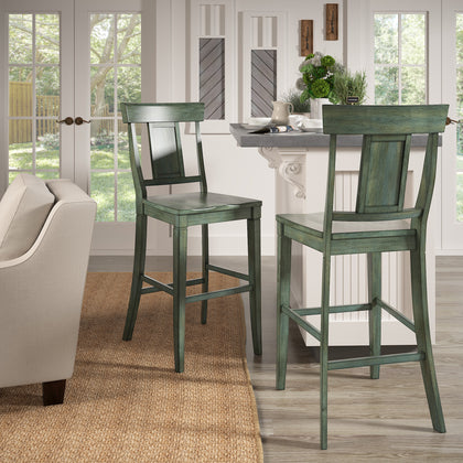 Panel Back Bar Height Chairs (Set of 2)