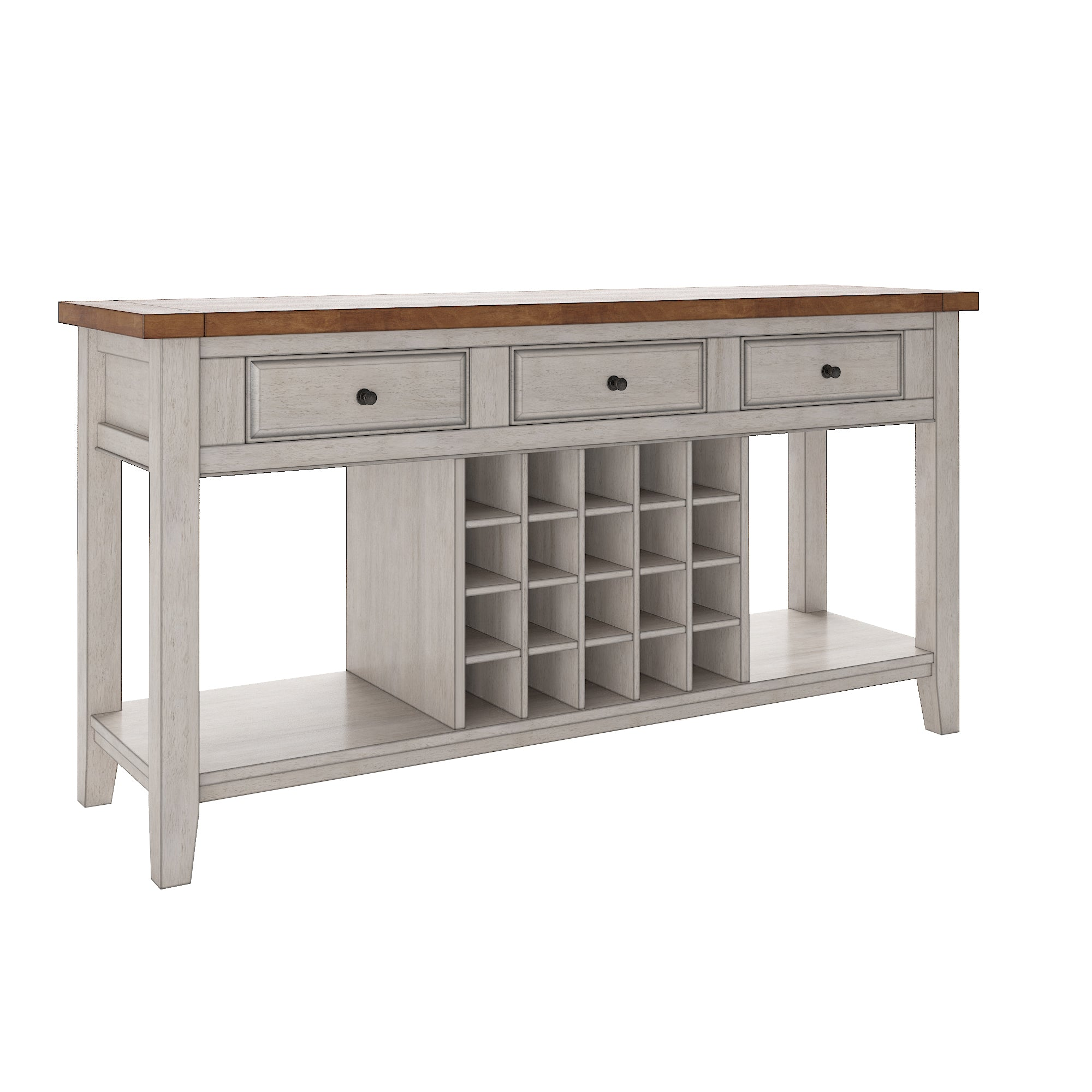 Two-Tone Wood Wine Rack Buffet Server - Oak Top with Antique White Finish Base