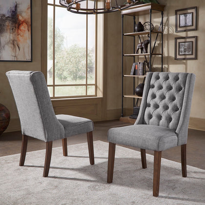 Tufted Linen Upholstered Side Chair (Set of 2)
