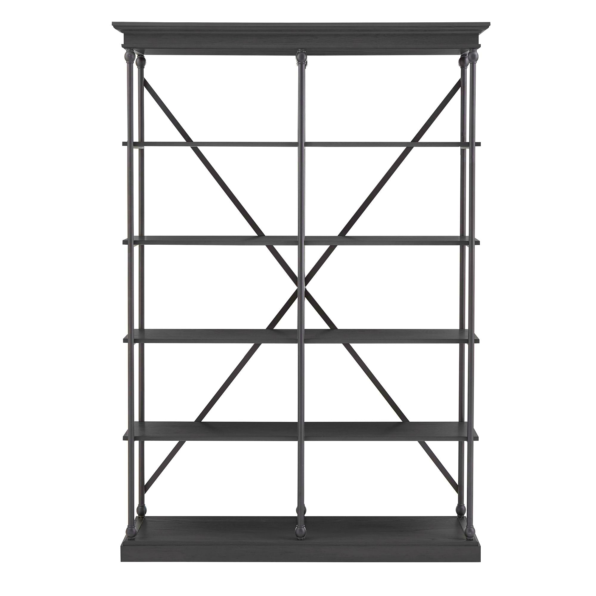 Cornice Wood and Iron Bookcase