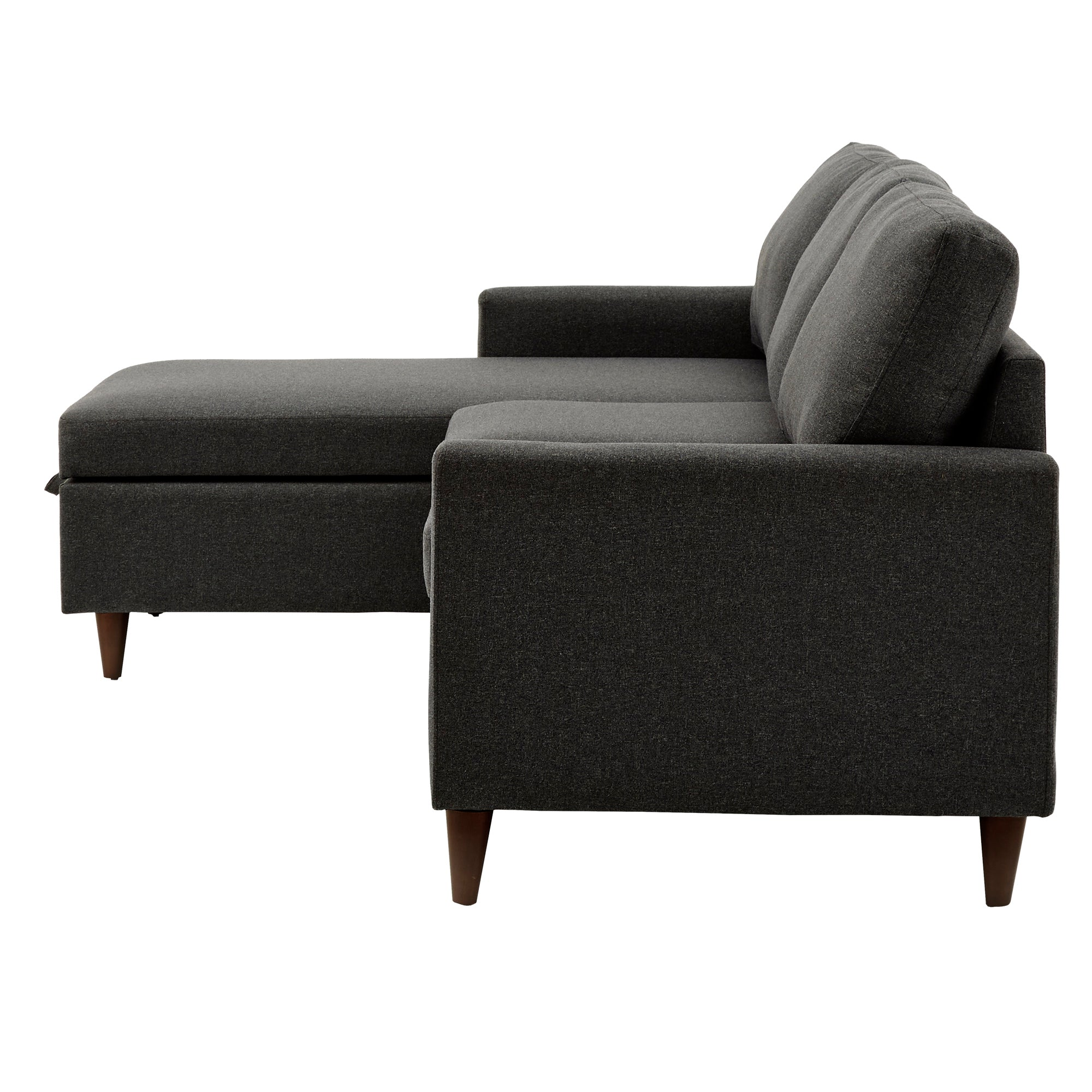 Walnut Finish Fabric Sectional Sofa with Reversible Storage Chaise - Dark Grey