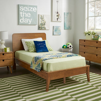 Oak Finish Wood Platform Bed - Twin Size