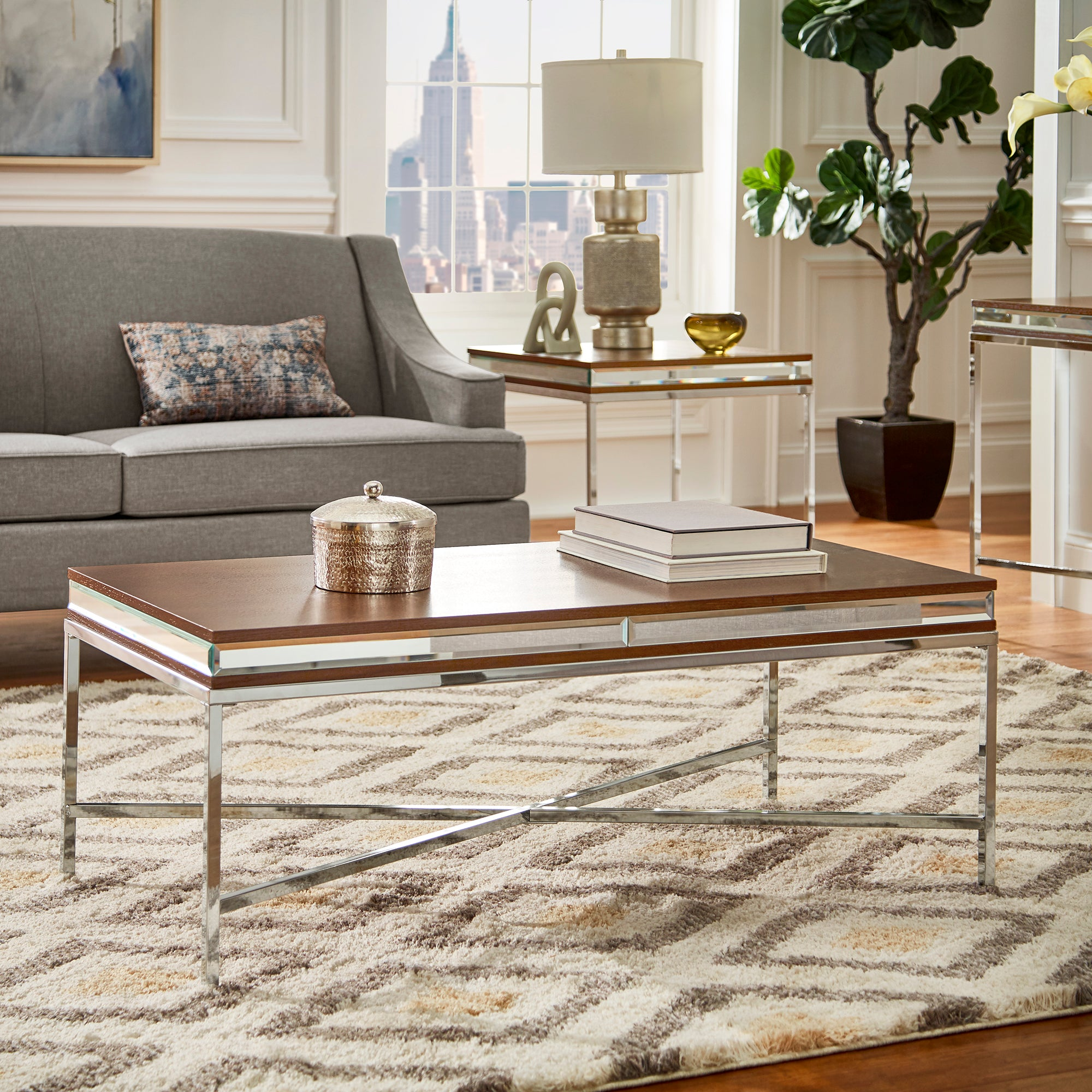 Mirror Trim Coffee Table - Chrome