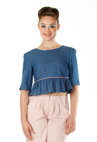Peplum Denim Top - Angelica Timas