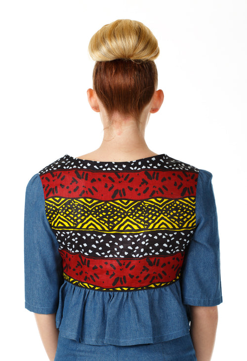 Ethnic Peplum Denim Top