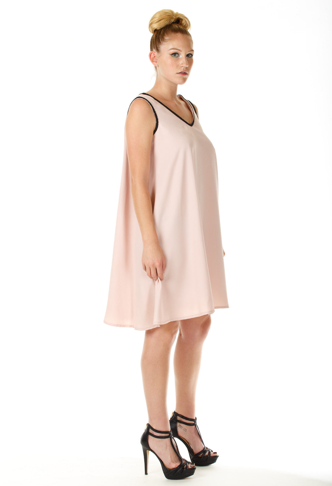 Mena Sleeveless V Back Flare Dress