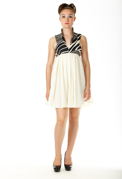 Babydoll Racer Back Ivory Dress - Angelica Timas