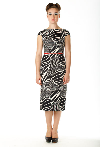Boatneck Cap Sleeve Print Dress - Angelica Timas