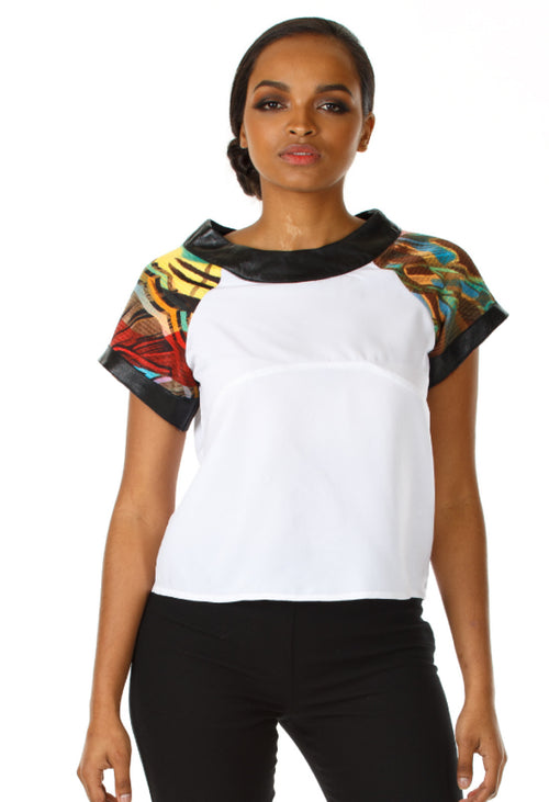 Sleeve Printed Leather Crop Top