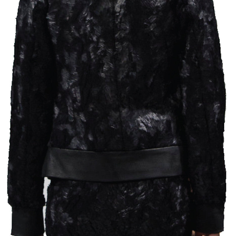 Textured Fur and Leather Bomber
