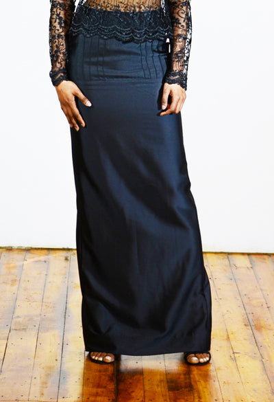 Back Split Satin Maxi Skirt - Angelica Timas