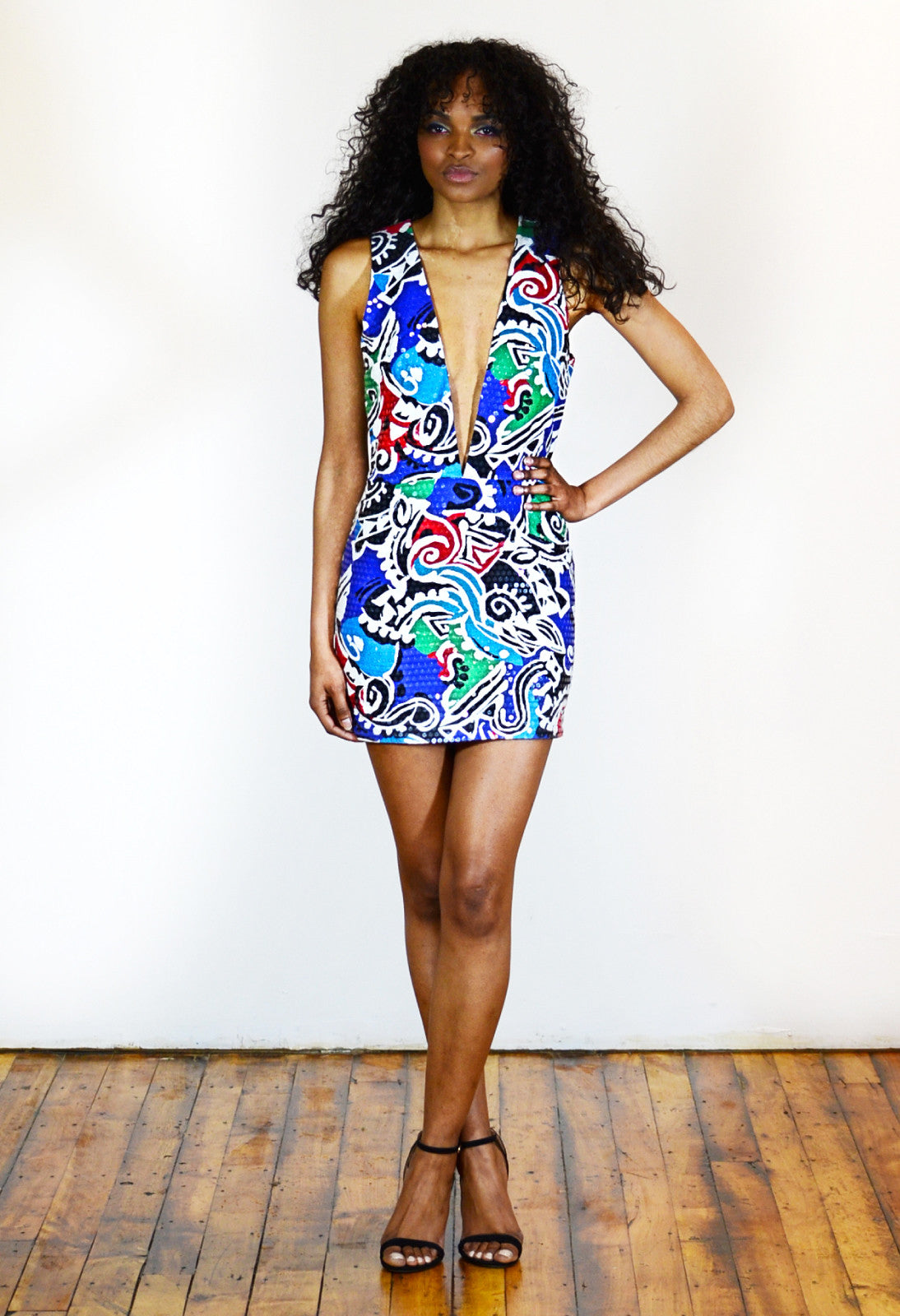 Deep V-Neck Bodycon Sequined Mini Dress