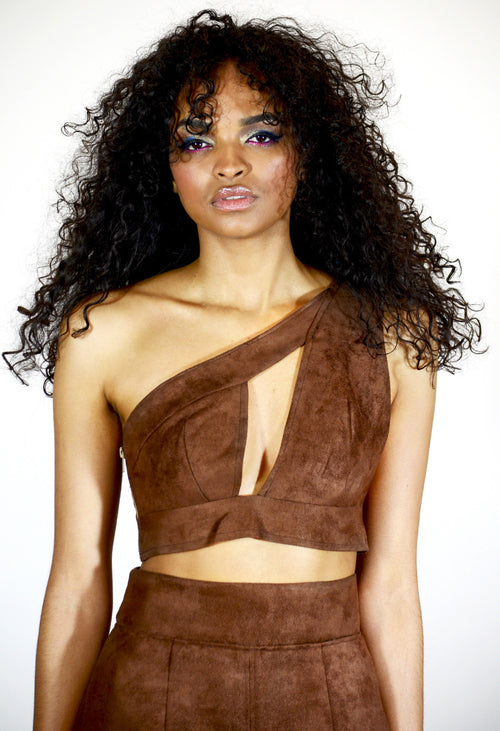 Suede Asymmetrical One Shoulder Crop Top - Angelica Timas