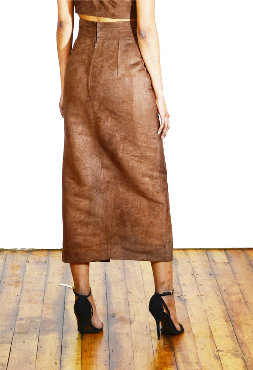 Suede Front Slit Pencil Skirt - Angelica Timas