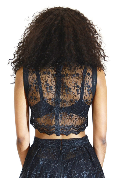 Leather Trim Lace Crop Top - Angelica Timas