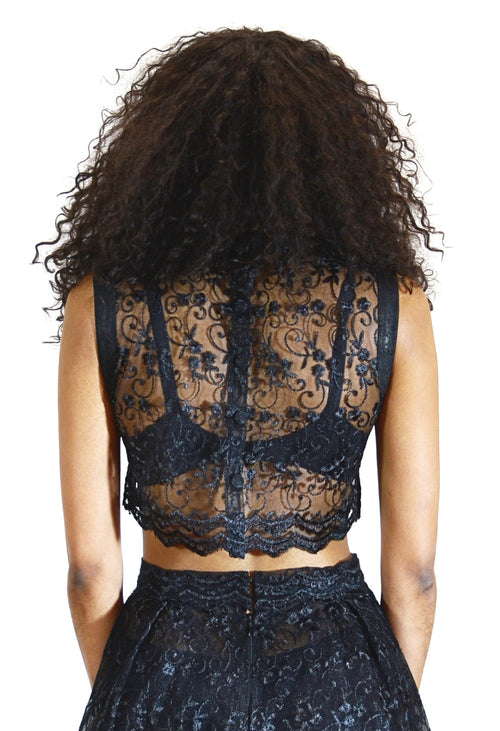 Leather Trim Lace Crop Top